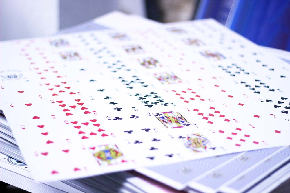 Press Sheet of Poker Cards on Blue Core Cardstock