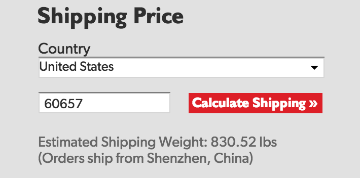Shipping Weight as Seen on our Calculator